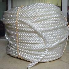 """3/8"""" x 600′ 3-Strand Nylon Rope, Anchor Line, Dock Line, White"""