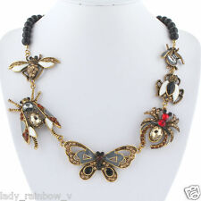 Vintage Style Lots Insect Statement Necklace Brown Austrian Crystal Enamel Vivid