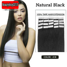 Factory Price 16inch Seamless Tape In 100% Real Human Hair Extensions #1B 20Pcs