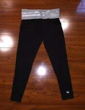 Victoria's Secret PINK Fold Over Yoga Pants Leggings Small Gray Silver FITTED