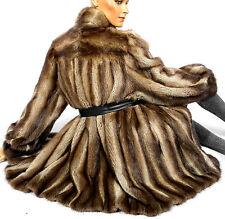Bisam Pelzjacke Vintage fur Pelzmantel Muskrat Pelz Echtfell Jacke Brown striped