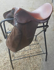 "Saddle 18"" Medium Wide Breaking In Training Horse Pony Leather Suede 2 Tone"