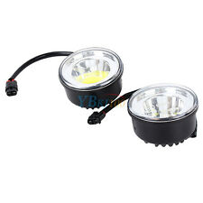 2 * COB Round Daytime Driving Running Light DRL Car White Fog Lamp Head Light