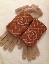 New Authentic CHANEL Beige Cashmere & Fur Shearling Gloves