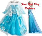 UK STOCK Frozen Party Dress Princess Elsa blue silver ages 3 4 5 6 7 8 girls