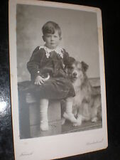 Old Cabinet photograph boy with dog by French at Sunderland c1890s