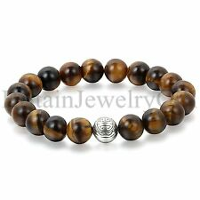 10MM Artificial Tiger Eye Tibetan Buddhist Longevity Beads Prayer Mala Bracelet