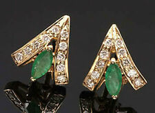 0.40ct Diamond 14k Yellow Gold Emerald Engagement Earrings Thanks Giving Day
