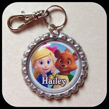 Personalized GOLDIE and BEAR Bottle Cap Name Jewelry Zipper Pull Backpack ID