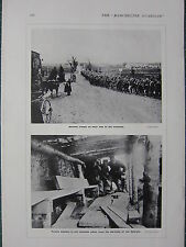1915 WWI WW1 PRINT ~ GERMAN TROOPS ON WAY TO TRENCHES ~ FRENCH AT LES EPARGES
