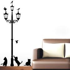מדבקת קיר מנורת רחוב וחתולים
