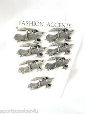 7 LOT VINTAGE Carded Pewter Cast Silvertone Airplane Pins Pinbacks Clutch back
