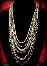 Elegant Multi-Strand Heavy Gold & Gunmetal Tone Link Chain Layered Long Necklace