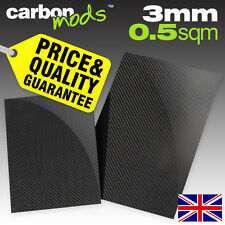 Single Layer Real Carbon Fibre/Fiber Sheet - Wet-Lay, 3mm, 0.5sqm