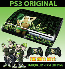 PLAYSTATION PS3 OLD SHAPE STICKER CANNABIS GIRL WEED LEAF SKIN & 2 PAD SKINS