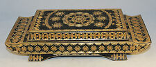 "Antique Straw Work Oriental Pagoda Style Box  11.5"" x 4.75"" x 2.75"""