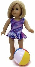 """Purple Tie-Dye Swimsuit & Beach Ball made for 18"""" American Girl Doll Clothes"""