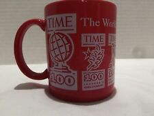 VINTAGE TIME MAGAZINE TOP 100 MOST INTERESTING COFFEE  MUG RED- VERY RARE