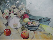 Still Life WC Fruit and Flowers on a Green Cloth  by Barbara Moor. Framed