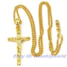 "REAL TASTEFULLY 18K YELLOW GOLD GP JESUS CROSS PENDANT 23.6"" NECKLACE SOLID FILL"