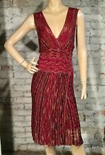 LAUNDRY BY SHELLI SEGAL DRESS S SMALL CASUAL CAREER WRAP BROWN RED ORANGE CROCHE