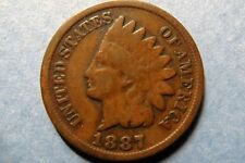 1887  Vintage INDIAN HEAD BRONZE CENT Circulated Philadelphia Mint Nice Details