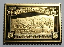1908 Canada 15 Cent Champlain Quebec Sterling Silver Stamp Bar Franklin Mint