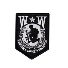 Wounded Warrior  EMBROIDERED 3 INCH IRON ON MC BIKER  PATCH