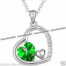 BLACK FRIDAY SALE - Heart Green Crystal Necklace Xmas Silver Gifts For Her Women