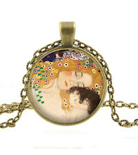 Mother and Child Art Necklace - Gustav Klimt Maternity Baby Jewelry Gift for Her