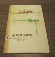 1949 Au Pic De L'aurore Hotel Restaurant Menu Perce Que Canada Top of the World