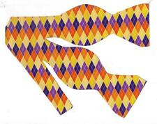 (1) BOW TIE - HARVEST BOUNTY ARGYLE - ORANGE, YELLOW & PURPLE