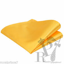 New Men's Yellow Gold Micro Fiber Solid Handkerchief Pocket Square Hanky Wedding