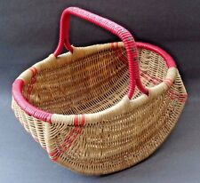 True Vintage 50s 60s Wicker Woven Red Plastic Picnic Shopping Kitchen Basket