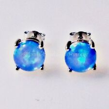 Edle Blau Cabochon Feueropal Ohrstecker 925 Silber rhodiniert 8 mm