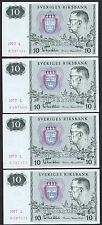Sweden, 1971, 10 Kronor x 4, Gustaf Vi Adolf, Unc, 4 notes in numerical order