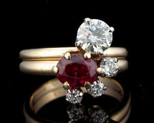 BROGAN SIGNED  2.65ctw ART DECO VINTAGE OLD EUROPEAN DIAMOND RUBY 14K GOLD RING