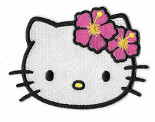 Hello Kitty Head Shot with Hibiscus Flowers Embroidered Patch / Iron On Applique