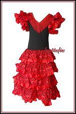 ♥ NEUF! ROBE FLAMENCO ESPAGNOLE SEVILLANE déguisement  6 ans rouge pois noir ♥