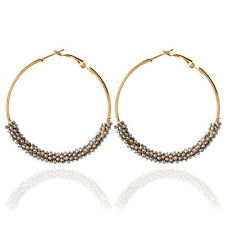 Charming Small Round Ball Rhinestone Gold Plated Lady Girl Hoop Earrings Jewelry
