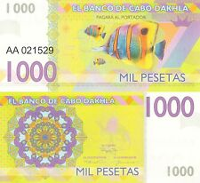 Cabo Dakhla 1000 pesetas 2015 UNC Copperband Butterflyfish - Private Issue