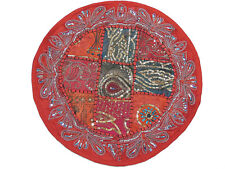 Decorative Round Accent Pillow - Red Beaded Patchwork Cushion Cover