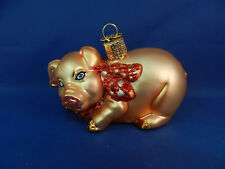 Old World Christmas Ornament Pig Blown Glass Tree Farm Animal NWT 12213p