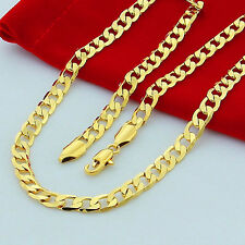 Fashion Men's 10mm 24 inches Yellow Gold Plated Curb Link Chain Necklace Jewelry