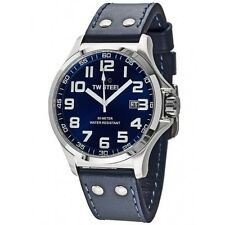 TW Steel Men's TW400 Pilot Sunray Blue Dial Stainless Steel Blue Leather Watch