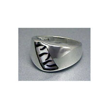 Mother of Pearl Ring Silver Zebra  Sterling Silver.925