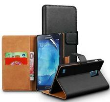 Genuine Real Leather Wallet stand case for Samsung Galaxy S5 Neo & Screen Guard
