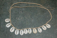 "Natural Hemp 30"" Surfer Necklace --  3/4 To 1"" Money Cowrie Shells--HC-12"