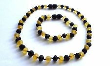 Natural unpolished Baltic amber necklace and bracelet for the child.