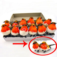 12 pcs Artificial Feather Robin Birds VERY CUTE ChristmasTree Decoration Craft